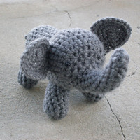 Amigurumi Crochet Elephant Stuffed Animal Gray by HookAndStitches