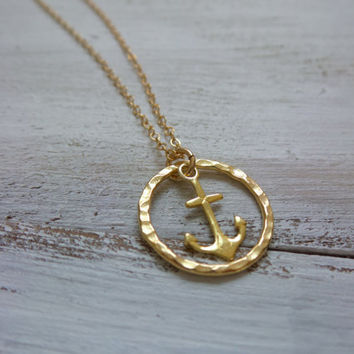 Anchor Circle Necklace by SBC, Vermeil Anchor, Vermeil Hammered Circle, Delicate Gold Filled Chain, Anchor Circle Necklace, Gold Anchor