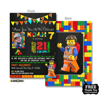 Halloween birthday invitation 1st first from 800canvas on etsy lego party lego photo invitation lego birthday invitation lego birthday lego birthday stopboris Image collections