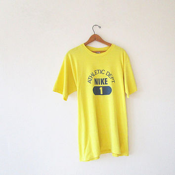 Vintage NIKE Buttery Yellow ATHLETIC Department #1 Soft Thin Sportswear Grey Label T Shirt Sz XL