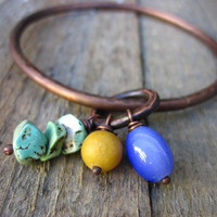 Copper Bangle purple yellow and turquoise colored by CopperTreeArt