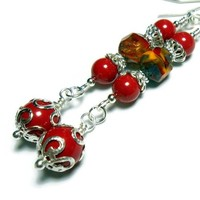 Earrings Red Coral Pearls Czech Picasso Fire Fashion Jewelry E