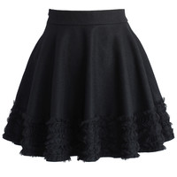 Ruffles Wool Blend Skater Skirt in Black Black
