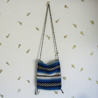 vintage mexican bag / woven blanket / blue white + black / beach tote / baja / shoulder bag