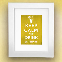 Keep Calm and Drink Lemonade Vintage Inspired 8x10 Poster Print by Caramel Expressions