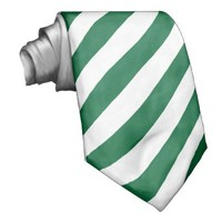 White and green striped tie