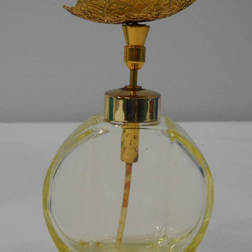 Vintage West Germany Yellow Rose Perfume Bottle Gilded Gold Top Free Shipping