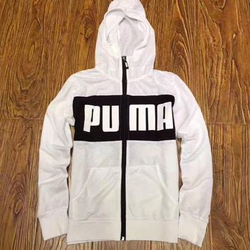 LMFON Puma Women Fashion Breathable Mesh Hooded Sports Jacket
