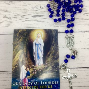 Our Lady of Lourdes Glass Bead Rosary