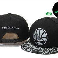 Golden State Warriors Logo Glow in the Dark Mitchell & Ness Black and White Snap Back Hat