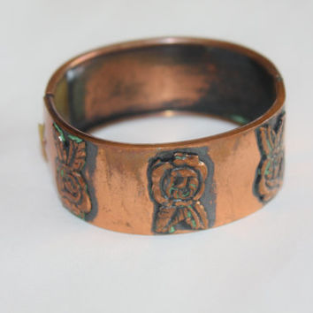 Vintage Copper Cuff Bracelet Bangle 1970s Boho Jewelry