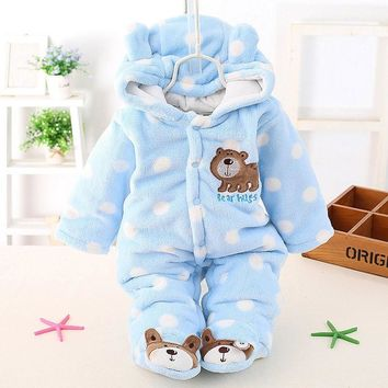 Baby Teddy Bear Winter Romper Cotton Padded Thick Jumpsuit