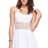 ROMWE Hollowed Waist White Dress