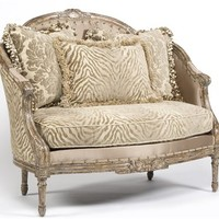 Zebra chic settee, Luxury fine home furnishings and high quality furniture for any home decor