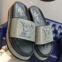 LV Louis Vuitton 2018 summer new casual pressure drill thick bottom sandals F-OMDP-GD grey