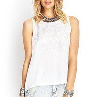 FOREVER 21 Floral Embroidered Woven Top Cream/Cream