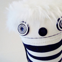 Black and White Stripe Modern Faux Fur Plush - Ooak polkadottydoll PAT - FREE Shipping (Canada & US)