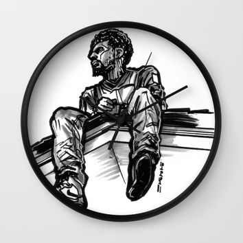 J Cole 2014 Forest Hills Drive Freehand Art Cover Wall Clock by Sketchnkustom