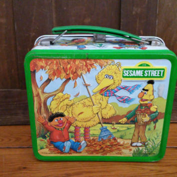 Vintage Metal Sesame Street Lunch Box 1983 Bert Ernie Big Bird