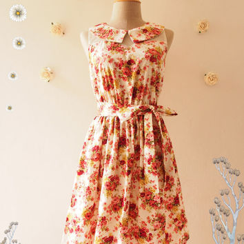 Floral Fancy : Floral Dress Peter Pan Collar Illusion Dress Tea Party Dress Floral Summer Dress Floral Bridesmaid Dress -Size S,M,L