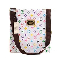 LV Louis Vuitton Men's and Women's Tide Brand Fashion High Quality Leather Office Bag Messenger F LV Print+White