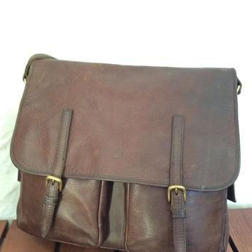 Vintage Fashionable Authentic Timberland Brown Leather Briefcase Messenger Bag Satchel