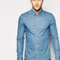 ASOS | ASOS Skinny Denim Shirt with Long Sleeves In Mid Wash at ASOS