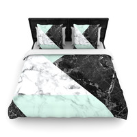 "KESS Original ""Geo Marble and Mint"" Black Art Deco Woven Duvet Cover"