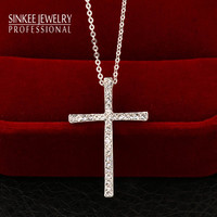 Trendy Rhinestone Cross Necklaces For Women