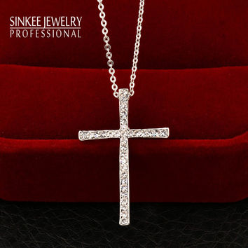 Silver Plated Rhinestone Cross Pendant Necklace Chain For Women And Girl Xl402 Free Shipping