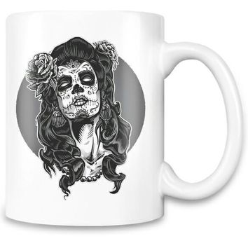 Gothic Death Mask Girl Coffee Tea Mug