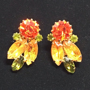 Vintage Unsigned Weiss Topaz, Olivine, Citrine Rhinestone Earrings
