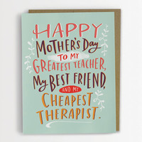 Cheapest Therapist Mother's Day Card, Funny Mother's Day Card 198-C