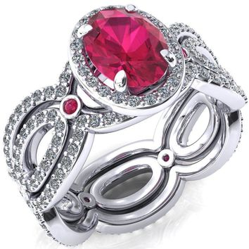 Polaris Oval Ruby Diamond Halo Full Eternity Ruby Bezel Diamond Accent Ring