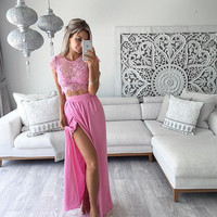 Lace Robe Sexy Long Dress Party Evening Beach Dresses Bodycon Vestidos Two Piece