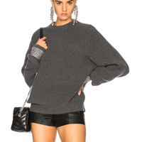 Alexander Wang Crew Neck Sweater with Crystal Cuffs in Charcoal | FWRD