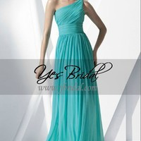 A-Line One-Shoulder Floor Length Chiffon Bridesmaid Dress SAL0357