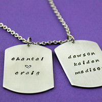 Handstamped Dog Tag Necklace - 2 Dog Tags