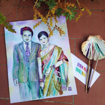 SPECIAL HINDU wedding 25th or 50th ANNIVERSARY gift - Custom watercolor painting from old photo