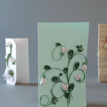 Handmade card made with 'quilling' method