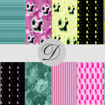 12 Printable Floral Dot Papers, Scrapbooking, Card Making, Collages, Art Projects, Craft Projects, Web Pages, Wedding Art, Downloadable Art