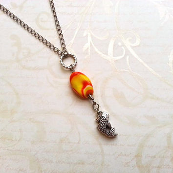 Koi Fish Necklace, Drop Necklace, Koi Necklace, Koi Fish Jewelry, Upcycled Jewelry, Koi Jewelry, Animal Charm Necklace, Yellow Orange