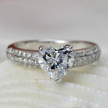 2 Carat Heart Shape Real Solid 18K White Gold Genuine Diamond Female Ring Au750 Gold Jewelry Statement Love Ring