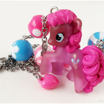 My Little Pony Pinkie Pie Necklace, Blue and Pink, Stainless Steel Chain - MLP, Fairy Kei, Kawaii Jewelry