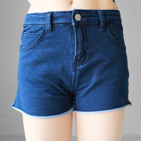 Slim High Waist Casual Denim Shorts Ladies Summer Jeans [4952161412]