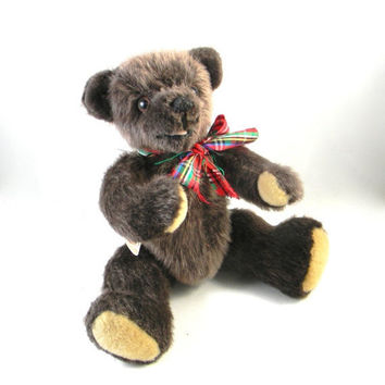 Vintage Teddy Bear - handmade - fully jointed with glass eyes - brown fur, open mouth