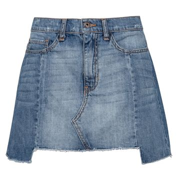 Blue Denim Jeans Distressed Mini Skirt