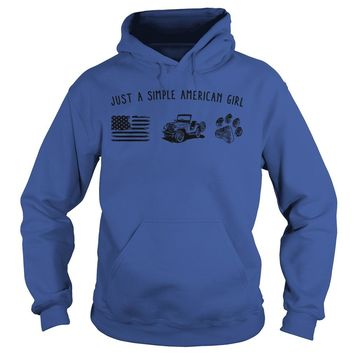 Just a simple American girl flag jeep and dog paw shirt Hoodie