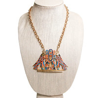 Accessocraft N.Y.C. Egyptian Statement Necklace, Winged Falcons, Coral, Turquoise Enamel, Gold Tone, Breast Plate, Designer Jewelry