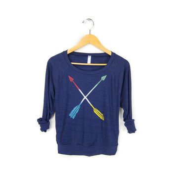 Tribal Arrows STENCILED Slouchy Tri Blend Heather Deep Scoop Neck Women's Lightweight Sweatshirt in Midnight & Primary Colors - XS S M L